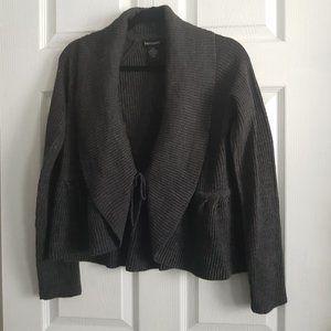 Dark Grey Knitted Ruffle Sweater